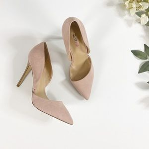 Blush Pink Point Toe Pumps Neutral Brown Heel